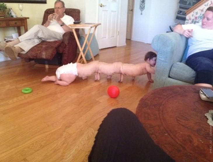Fotografía panorámica de un bebé que salió mal