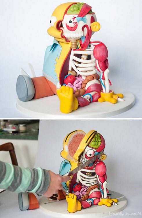 Pastel creativo en forma de Ralph personaje de los simpsons
