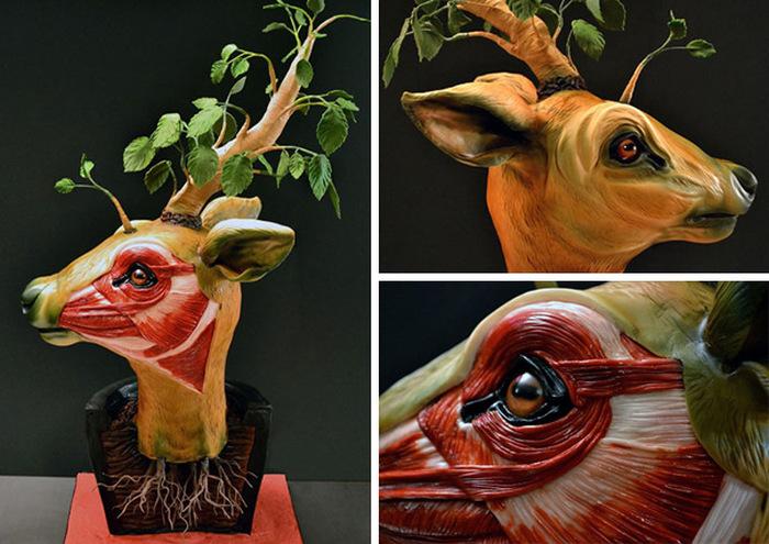 Pastel creativo realista en forma de cabeza de venado