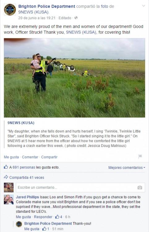 Captura de pantalla donde publican en Facebook que un policía del Departamento de Policía Brighton distrajo a una niña para evitar que viera a su padre muerto en Colorado