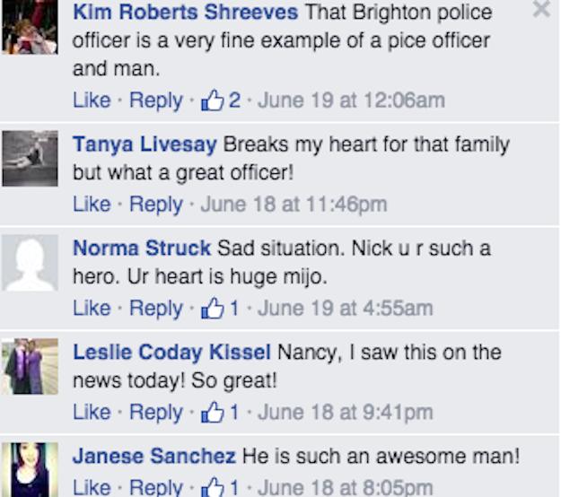 Comentarios de personas en el Facebook del Departamento de Policía Brighton