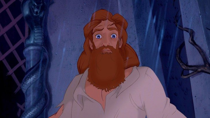 Bestia de la película La bella y la bestia sin barba con barba