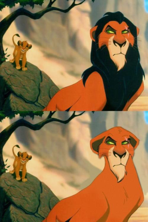 Foto de Scar de el rey león con y sin barba