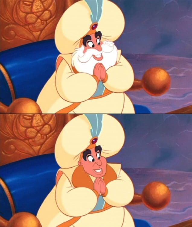 Comparación de la foto del Súltan de Aladdin con y sin barba