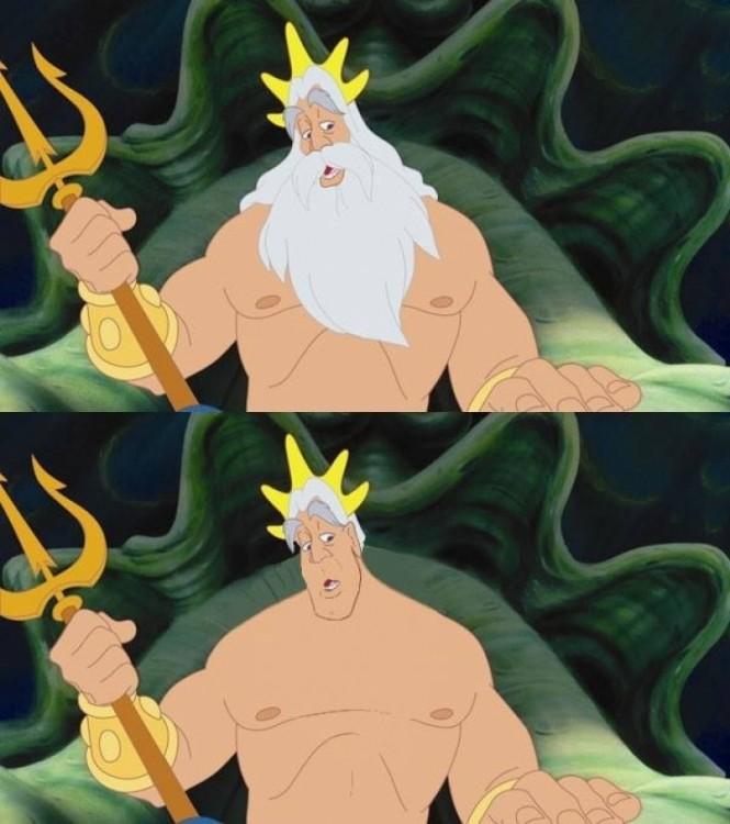 Rey Tritón de la sirenita en comparación con barba y sin barba