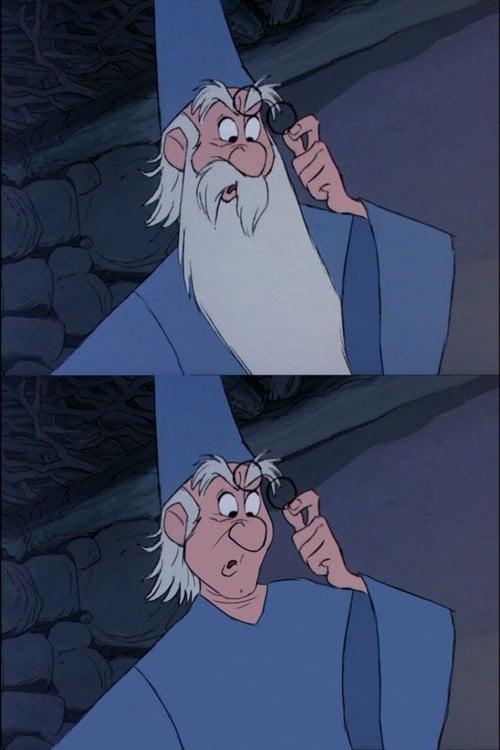 Mago Merlín con y sin barba