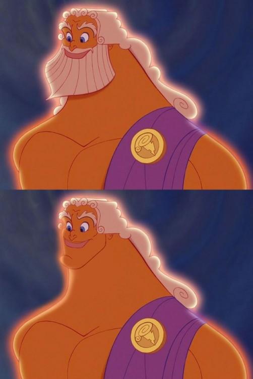 Zeus de la película Hércules con y sin barba