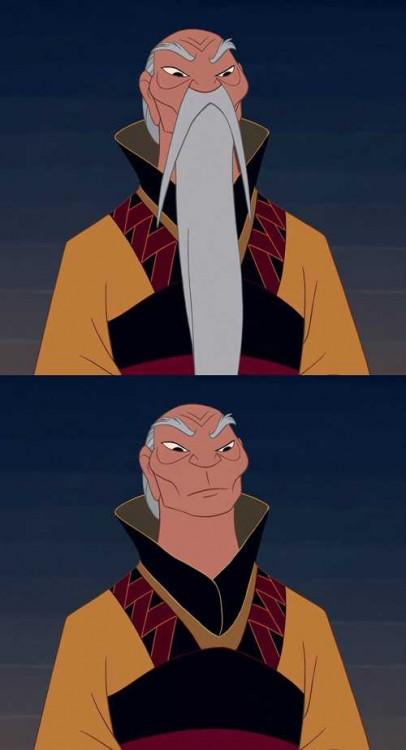 Emperador de Mulan con barba y sin barba