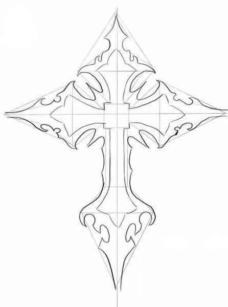 Dibujo de una cruz sobre un papel blanco