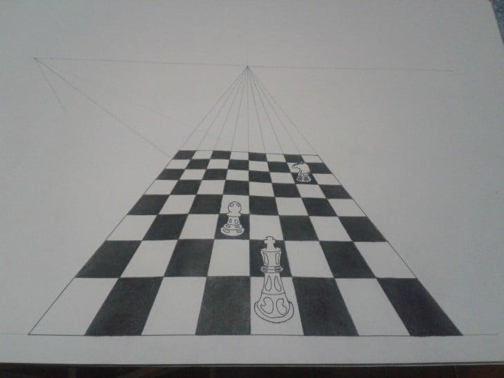 Dibujo en un papel de cuadros de ajedrez