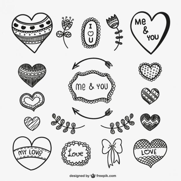 dibujos de corazones de diferentes formas