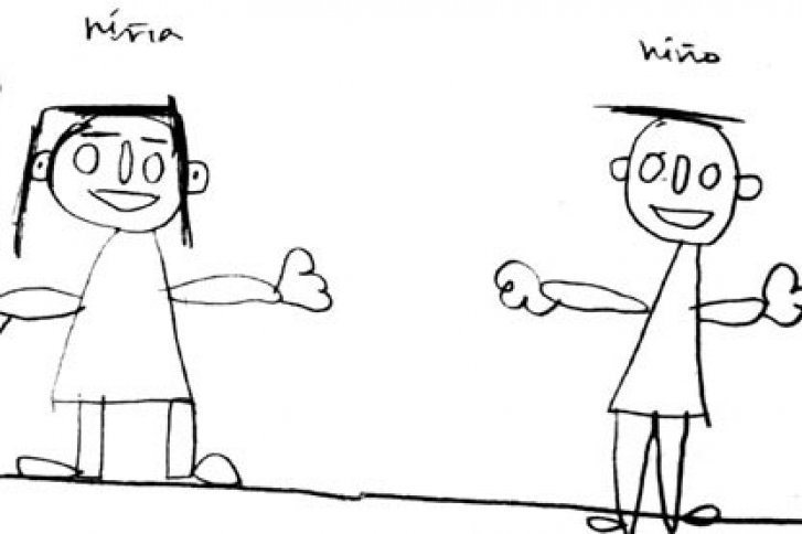 dibujos de una niña y un niño sobre un papel