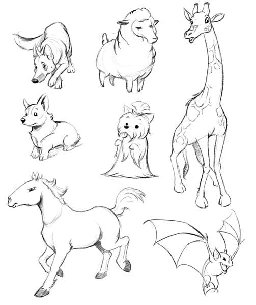 dibujso de diferentes animales sobre una hoja