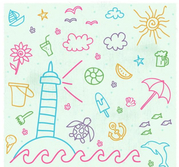dibujo de un sol, nubes y flores de colores