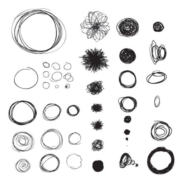 Círculos hechos sobre una hoja de papel