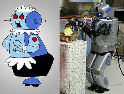 Robot que hace las labores del hogar en un lado de robotina en las caricaturas de los supersónicos