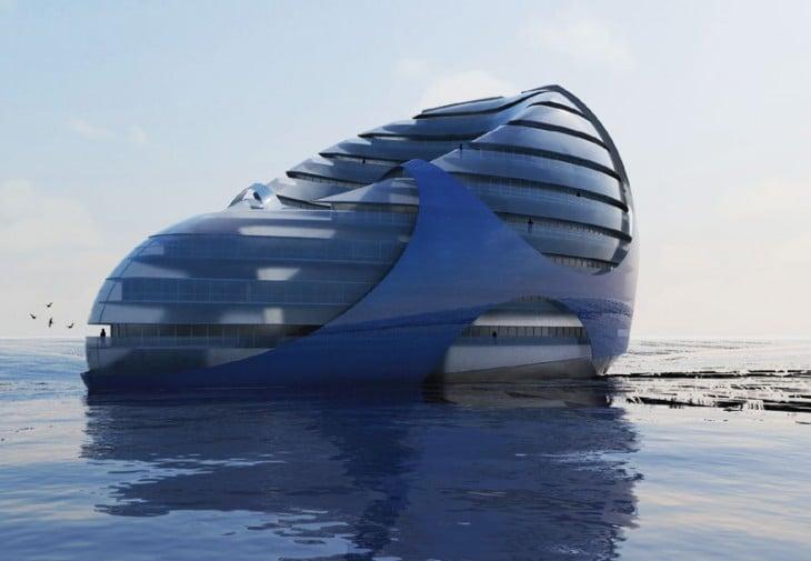 Edificios flotantes en el mar abierto
