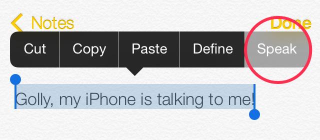 Captura de pantalla de como selecciones el texto para que tu iPhone lo lea en voz alta
