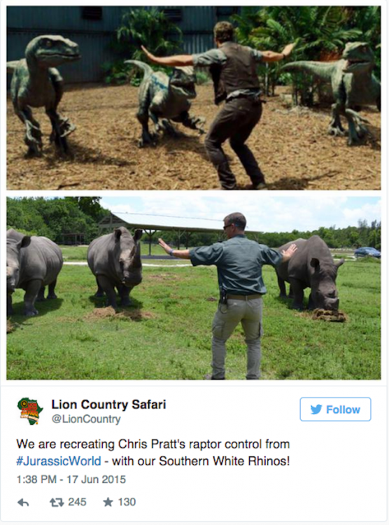 Zoólogos recrean escena de la película Jurassic World