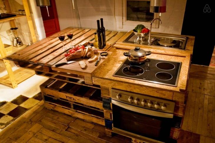 Cocina rústica con palets