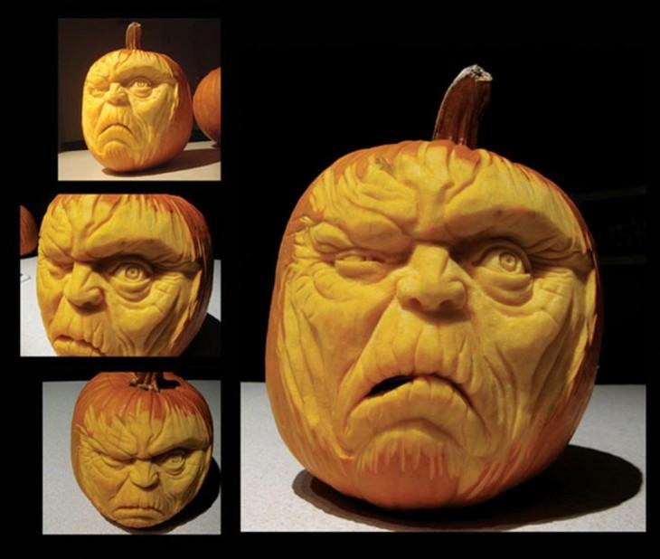 arte en calabazas con la forma de una cara con un ojo cerrado