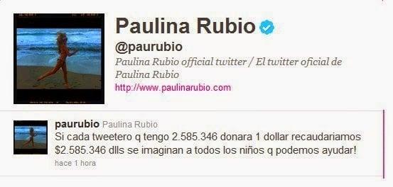 Captura de pantalla donde muestra el twitter de paulina rubio redundando en que es su cuenta oficial