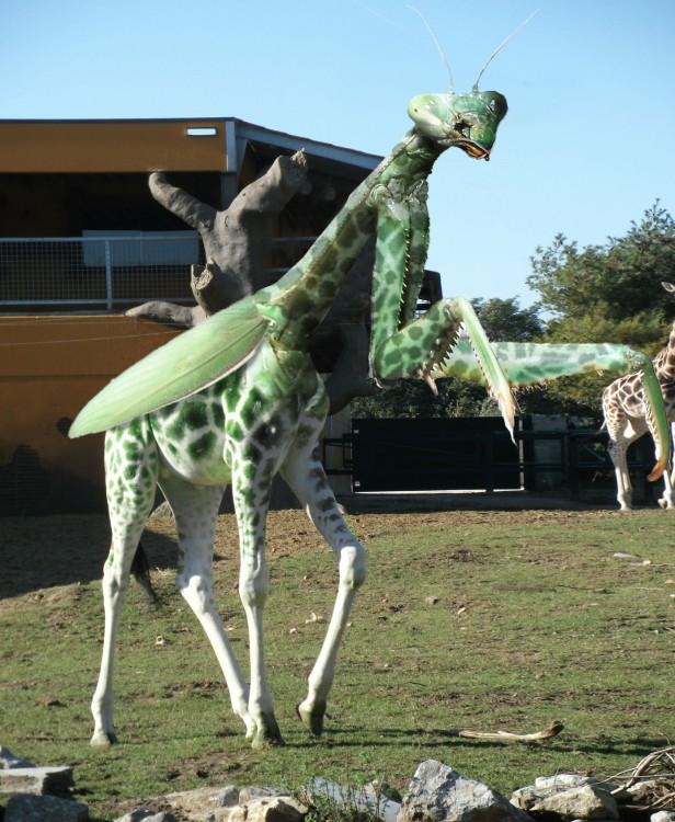 animal híbrido de una mantis con la fusión de una jirafa