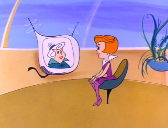 Videollamada de la mujer sónico con una persona en las caricaturas de los supersónicos