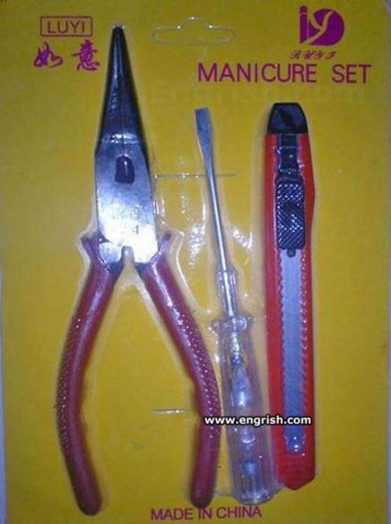 set de manicure con pinzas desarmador y cutter