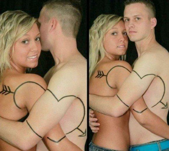 tatuaje de corazon entrelazado para parejas