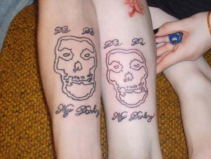 tatuaje de pareja de calaveras