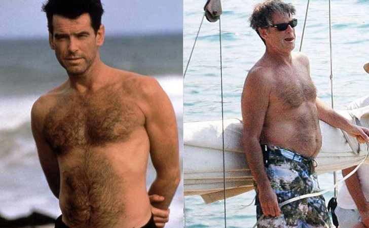Pierce Brosnan delgado y gordo