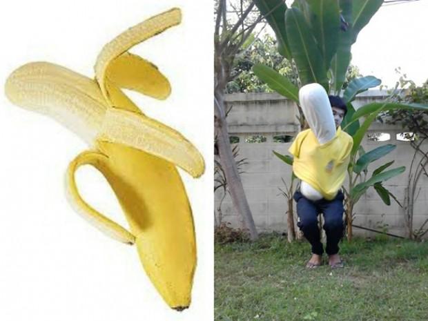 Chico disfrazado de plátano
