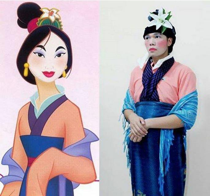 Hombre disfrazado de Mulan