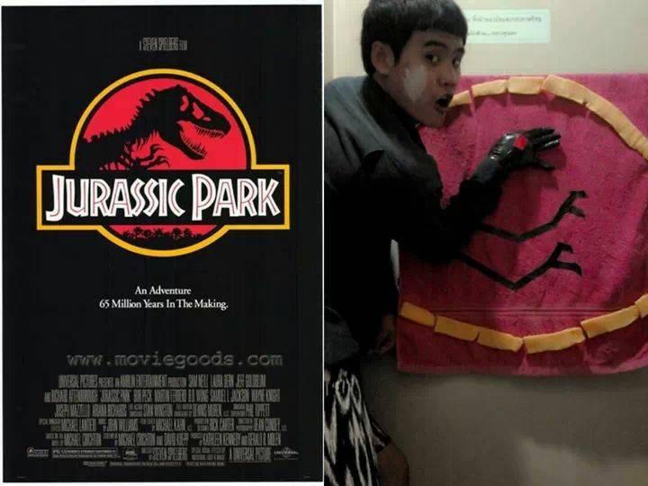 Cosplay del poster de Jurassic Park
