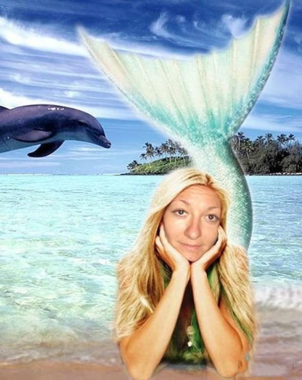mujer que se convierte en sirena con photoshop