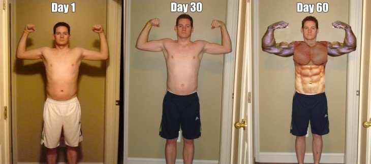 antes y despues del gimnasio version photoshop