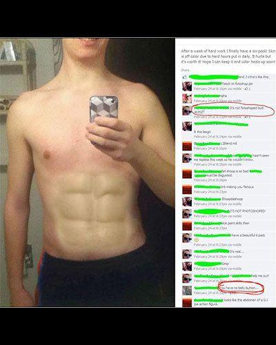 hombre se photoshopea el abdomen