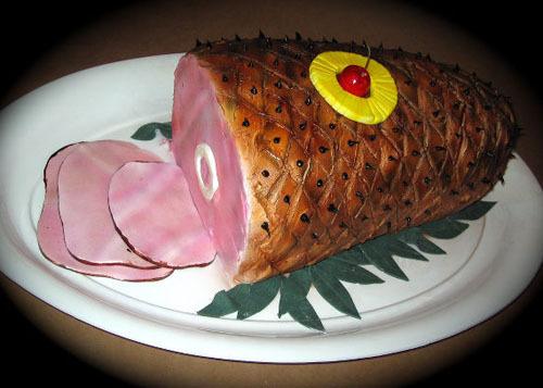 pastel en forma de jamón a la piña