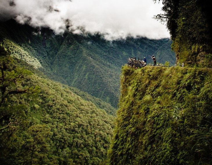 Ruta de la muerte en Yungas entre La Paz y Coroico, Bolivia