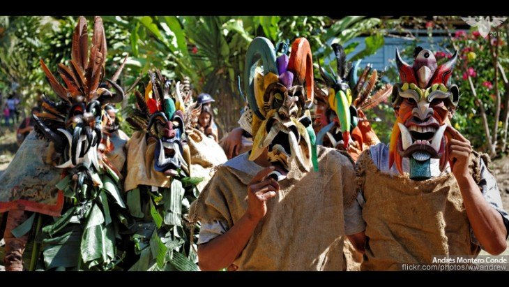 Fiesta de los Diablitos en Sur de San Isidro en la aldea de Coruca de Rey Curre, Costa Rica