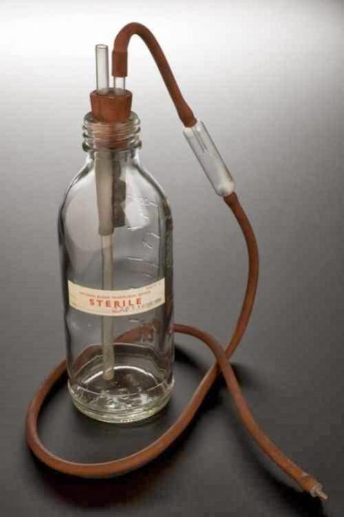 Botella de transfusión de sangre. Inglaterra, 1978