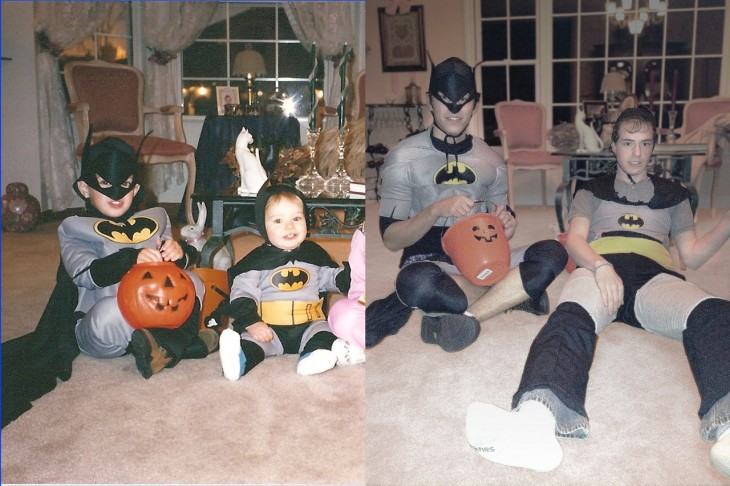 recrean foto familiar disfrazados de batman