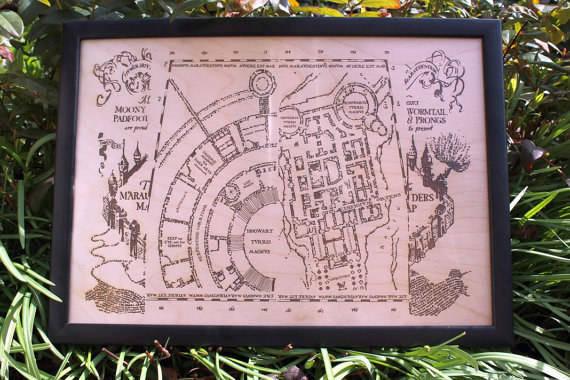 """Cuadro con el Mapa Merodeador """"Harry Potter"""""""