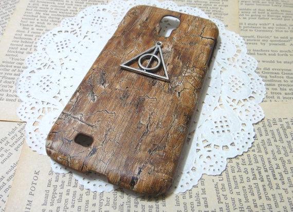 Funda de madera para celular de las reliquias de la muerte de Harry Potter