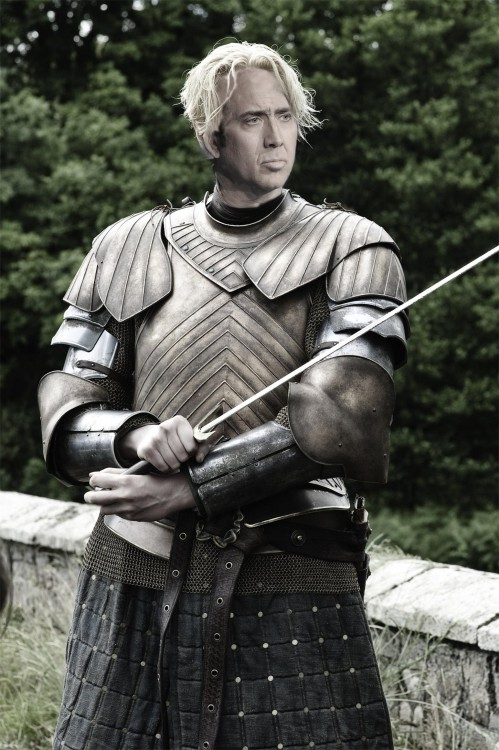 Brienne de Tarth personaje de Game Of Thrones con la cara de Nicolas Cage