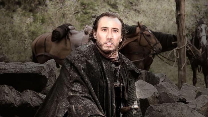 Jeromy Flynn personaje de Game of Thrones en la cara de Nicolas Cage
