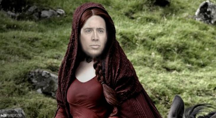 Melisandre de Asshai con la cara de Nicolas Cage