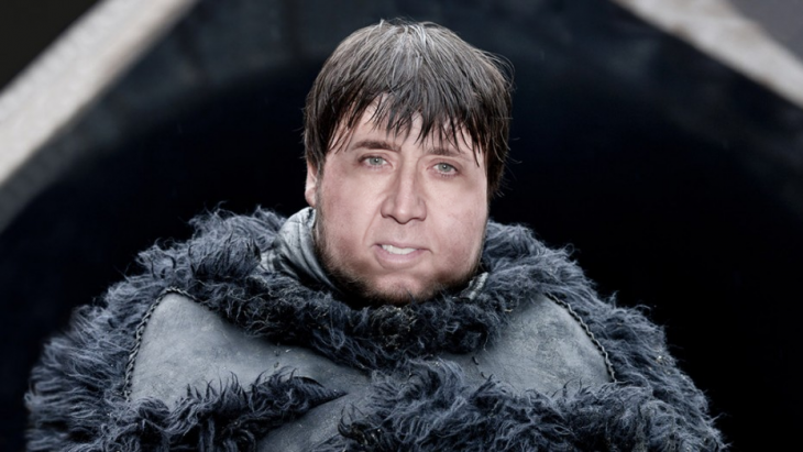 Samwell Tarly personaje de Game of Thrones en la cara de Nicolas Cage