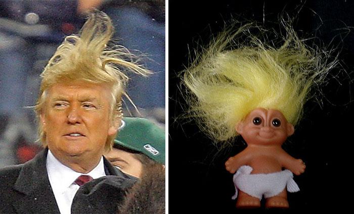 Similitud del peinado de Donald Trump con el de un Troll Doll